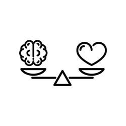 heart and brain on scale balance icon vector
