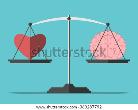 Heart and brain on scales. Balance, love, mind, intelligence, logic concept. Flat style. EPS 8 vector illustration, no transparency