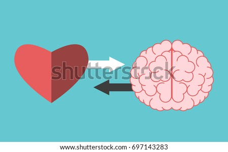 Heart and brain with arrows on turquoise blue. Interaction, connection, creativity, logic, intelligence and emotion concept. Flat design. EPS 8 vector illustration, no transparency, no gradients