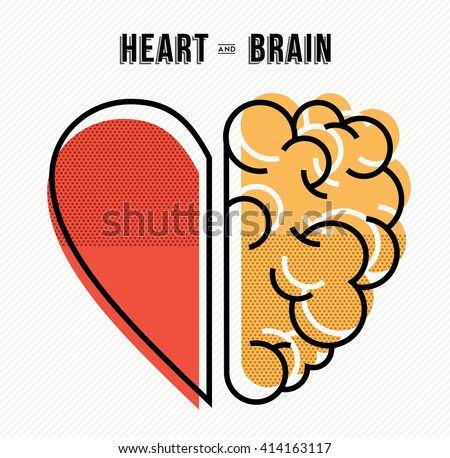 Heart and brain work as team concept design, flat line art modern illustration. EPS10 vector.