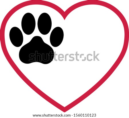 Heart and cats paw, cats and paw logo