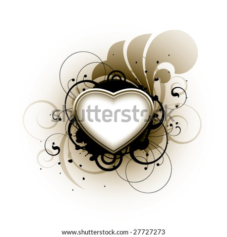 Heart and floral elements on a white background