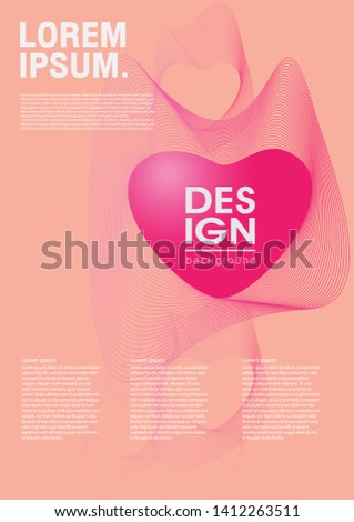 Heart and gradient linear waves. Pink color of heart with gradient linear waves.vector illustration design.Poster design.