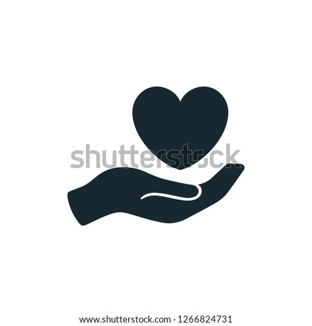 heart and hand icon care save symbol