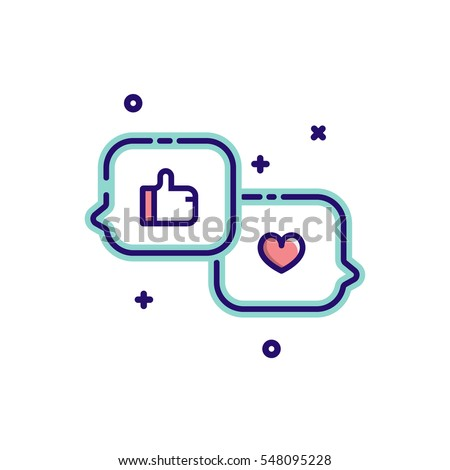 Heart and like symbol in speech bubble message icons. Vector illustration.