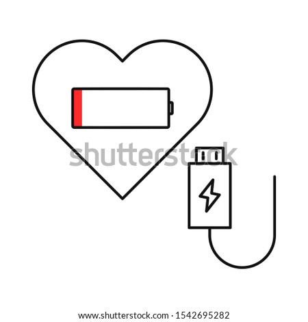 Heart and low battery flat illustration. Outline thin line. Isolated on white background.
