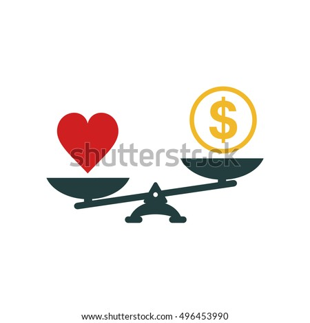 heart and money scales icon
