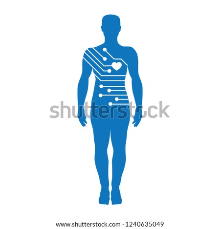 heart and mother board inside human figure, futuristic logo icon