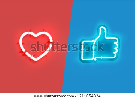 heart and thumbs up neon signs