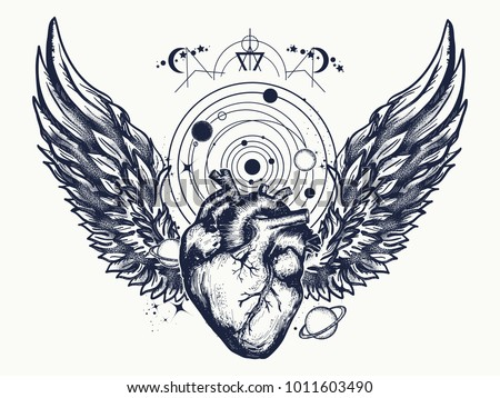 heart and wings in space tattoo