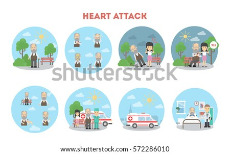 Heart attack infographic on white background. Symptoms and first aid.