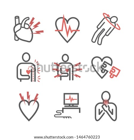 Heart Attack line icons. Symptoms, Treatment. Vector signs for web graphics.