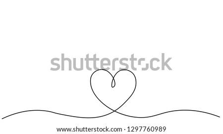 Heart background valentine day design, one line draw vector illustration.
