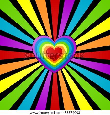 Heart background with rainbow sunbeam. - stock vector