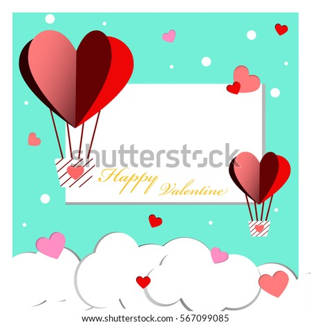 Heart Balloon and Snow of Happy Valentine Day.Green Background. #567099085