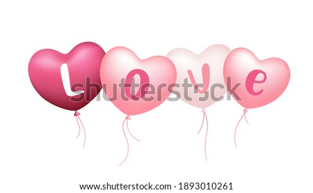 Heart Balloons in Multiple pink color shades with love message, Valentine's Day design concept isolated on white background, Eps 10 vector illustration