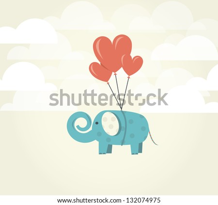Heart balloons lifting up green elephant. Power of Love concept. Love ispires.