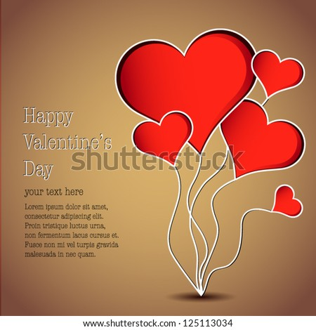 Heart balloons - Valentine's day vector gold background