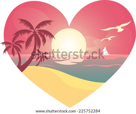 heart beach landscape  with