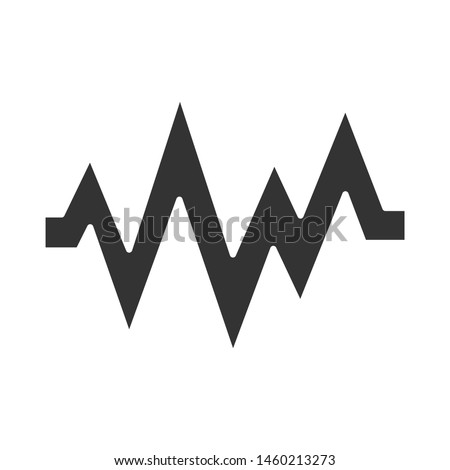 Heart beat glyph icon. Silhouette symbol. Sound and audio wave. Heart rhythm, pulse. Music frequency, digital soundwave. Soundtrack playing amplitude. Negative space. Vector isolated illustration