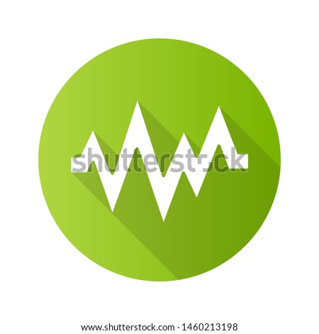 Heart beat green flat design long shadow glyph icon. Sound and audio wave. Heart rhythm, pulse. Music frequency, digital soundwave. Soundtrack playing amplitude. Vector silhouette illustration