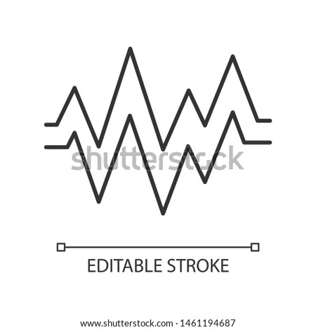 Heart beat linear icon. Thin line illustration. Sound, audio wave. Heart rhythm, pulse. Music frequency. Soundtrack playing amplitude. Contour symbol. Vector isolated outline drawing. Editable stroke