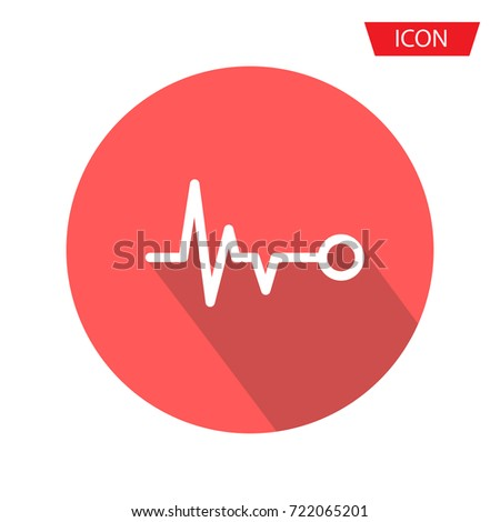 Heart beat monitor pulse line art icon isolated on background.