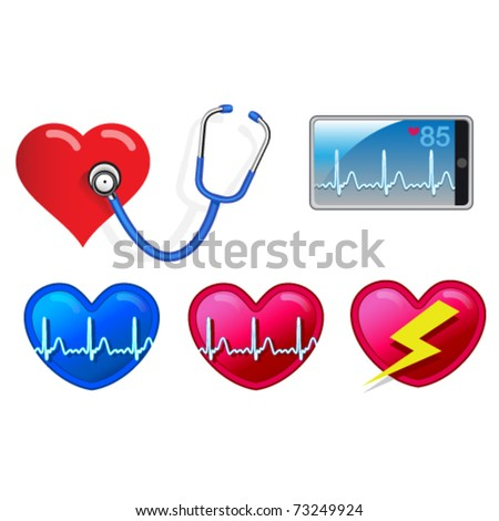 Heart beat monitoring devices including stethoscope, smart phone and heart icons.