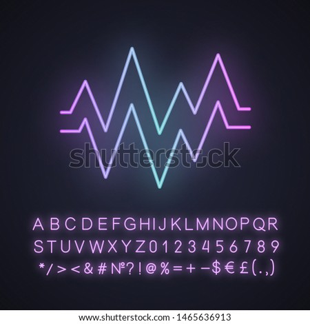 Heart beat neon light icon. Sound and audio wave. Heart rhythm, pulse. Digital soundwave. Soundtrack playing amplitude. Glowing sign with alphabet, numbers and symbols. Vector isolated illustration