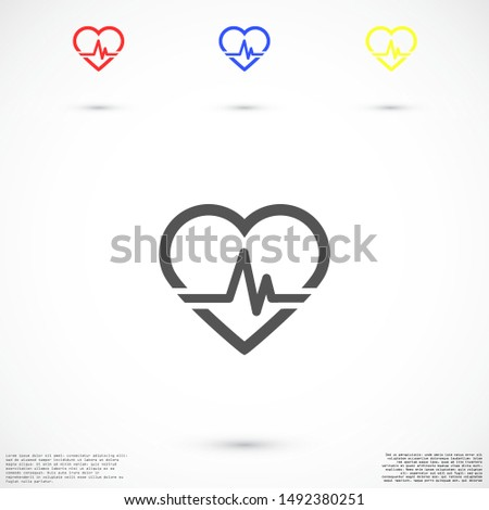 Heart beat pulse flat icon for medical applications and websites. Heartbeat / heart beat pulse icon. Heart beat flat vector icon for medical apps and websites icon.