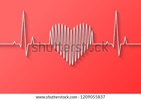 Heart beat, rate and pulse line concept made in flat design on light red background. Vector illustration.