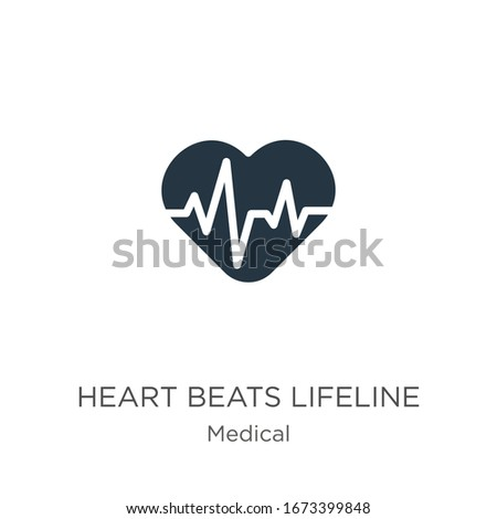 Heart beats lifeline in a heart icon vector. Trendy flat heart beats lifeline in a heart icon from medical collection isolated on white background. Vector illustration can be used for web and mobile  Stockfoto ©