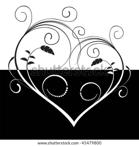 stock vector : Heart black and white tattoo. Vector