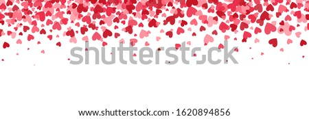 Heart border. Bright hearts confetti falling on white background. Valentines Day banner for greeting cards, wedding invitation, gift packages. Vector illustration.