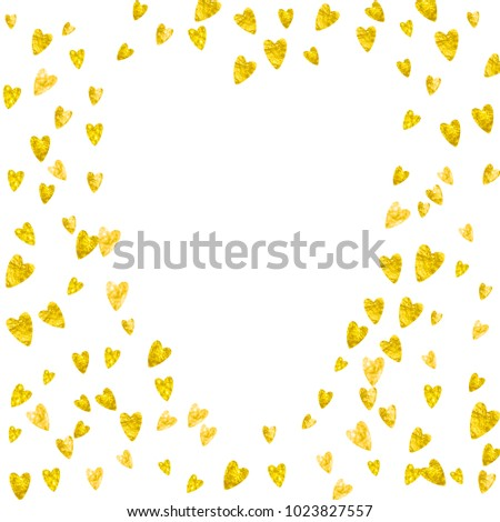 Heart Border For Valentines Day With Gold Glitter February 14th Day