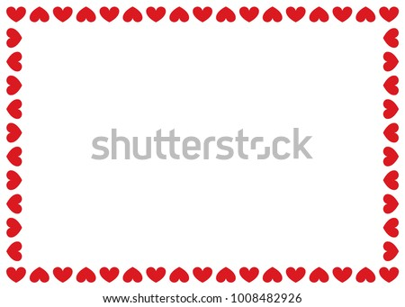 Heart Border, Valentine's Day, Love Border, Photo Frame, Red Heart Border Background, Valentine's Day Card Background, Heart Icon Vector Background