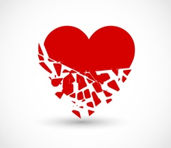 Heart breaking into pieces icon vector
