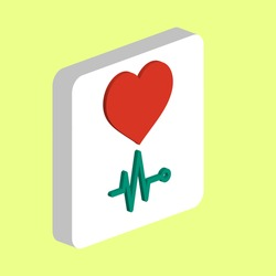 Heart cardiogram, simple vector icon. Illustration symbol design template for web mobile UI element. Perfect color isometric pictogram on 3d white square. Heart cardiogram icons for business project