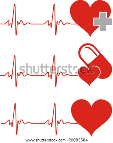 Heart cardiogram with heart. Editable vector background - heart and heartbeat symbol on reflective surface