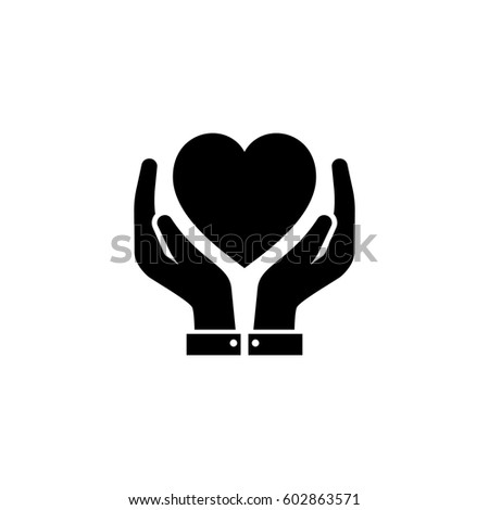 Heart Care Icon with Hands. Flat Design Isolated.