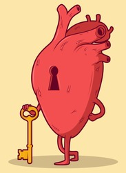 Heart character holding a key vector illustration. Broken | Closed heart design concept