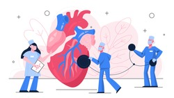 Heart checkup banner concept. Idea of health care and disease diagnosis. Doctor examine a heart with stethoscope. Cardiology specialist. Isolated vector illustration in flat style