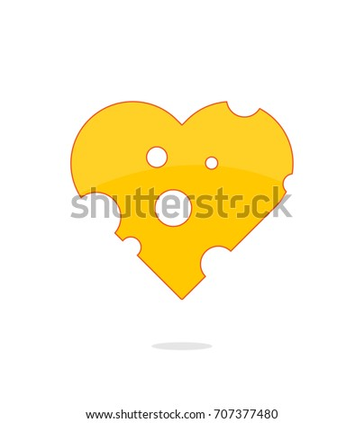 Heart Cheese Vector Illustration. Cheese Love Concept