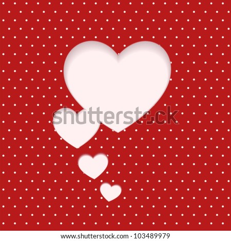heart clipped sticker on polka dot background. card for Valentine's day