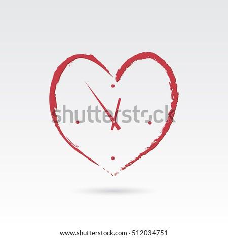 heart clock icon illustration