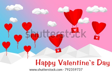 Heart, cloud and air balloon with polygon background. Valentine day concept. Happy Valentin day. #792359737
