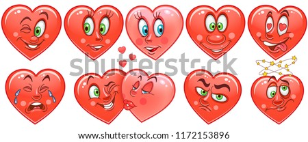 Heart collection. Emoticons. Emoji. Love symbol. Cartoon design element for Valentines Day greeting card, kids coloring book page, t-shirt print, icon, logo, label, patch, sticker.