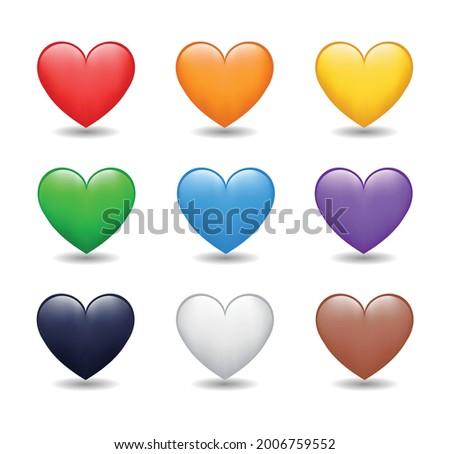 Heart Color Set Icons.  Cartoon Style Love Symbol emoji. Heart Love Emoji Icon on white background. Red, orange, yellow, green, blue, purple, black, white, brown color hearts