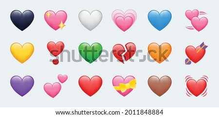 Heart Color Set Icons vector illustrations. Set of Hearts in different colors and types