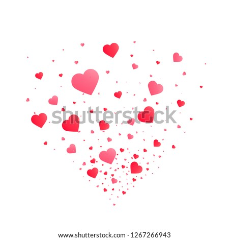 Heart confetti burst isolated. Valentines day concept. Heart shapes background. Vector festive illustration.